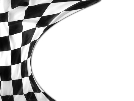 win: Checkered black and white flag. Copy space