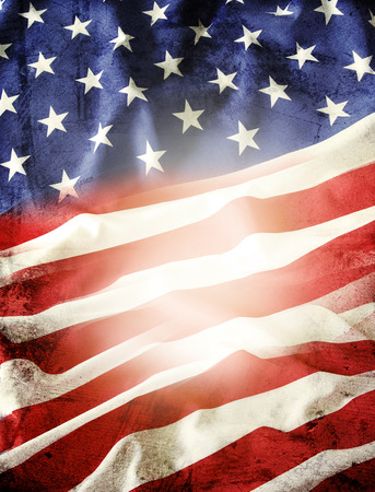 Closeup of American flag stars and stripes photo