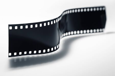 Film strip over plain background