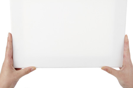 Hands holding blank canvas. Copy space photo