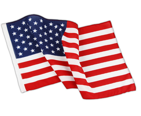 Closeup of wavy American flag in front of white background photo