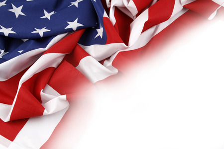 patriotic background: Closeup of American flag on plain background