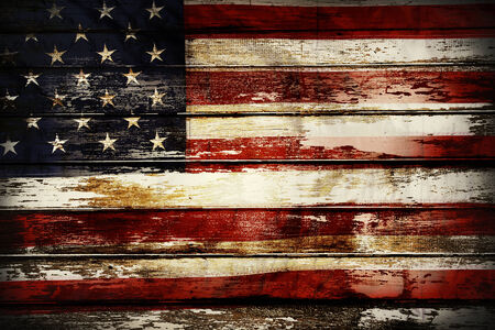 Closeup of American flag on boards photo
