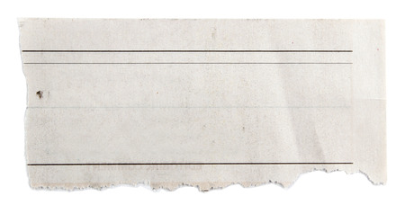 blank newspaper: Piece of torn paper on plain background  Stock Photo
