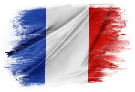 無地の背景にフランス国旗 写真素材