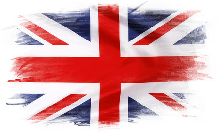 plain background: Union Jack flag on plain background Stock Photo