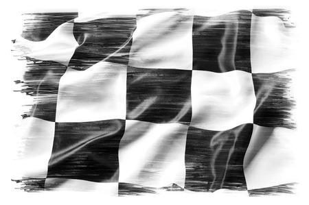 cuadros blanco y negro: Bandera a cuadros en el llano