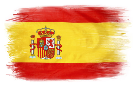 Spanish flag on plain background Archivio Fotografico
