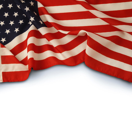 american flag background: Closeup of American flag on plain background