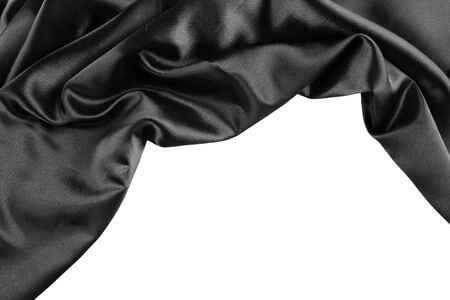black satin: Closeup of rippled black silk fabric on plain background