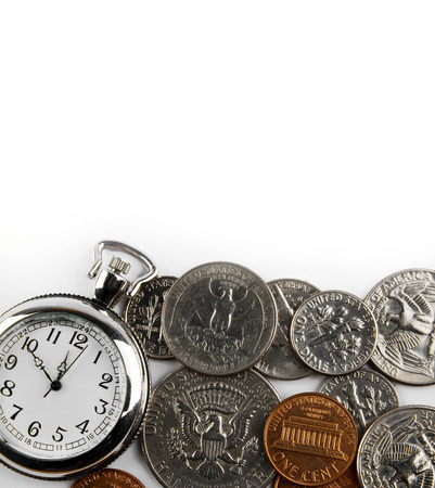 Pocket watch and coins on plain background. Time is money concept photo