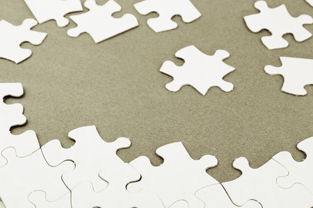 Loose jigsaw puzzle pieces photo