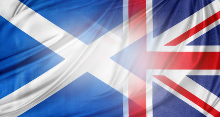 Scotland and British flags together photo