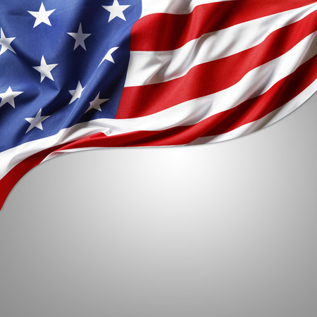 Closeup of American flag on grey background photo