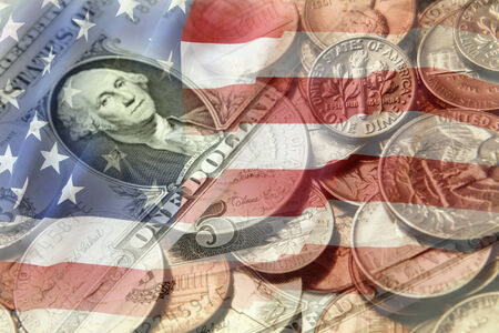 us coin: American flag and currency composite