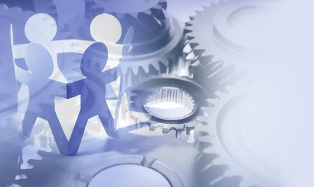 Gears and team. Teamwork concept 免版税图像