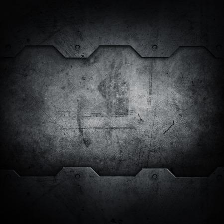 scratched metal: Dark grunge textured wall closeup  Stock Photo