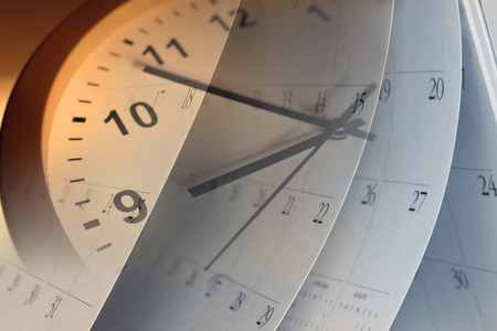 Clock face and calendar composite Stock Photo