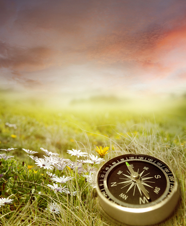 Compass in a spring scene photo