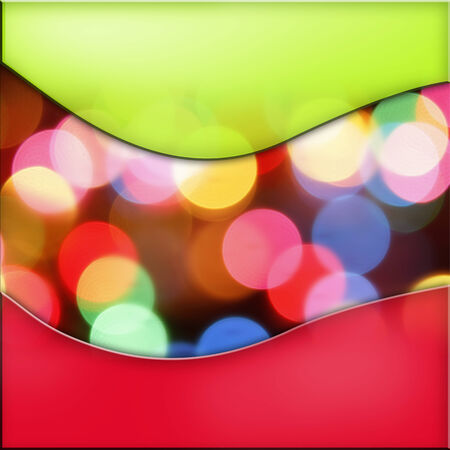 Colorful circles of light abstract background with green and red borders photo