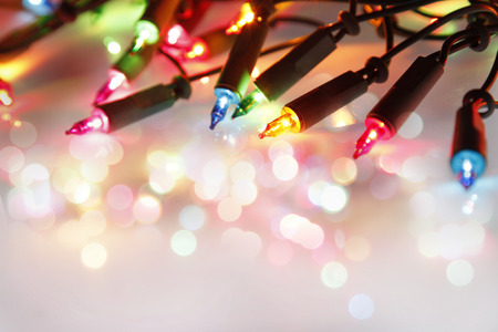 Closeup of Christmas lights glowing Stock Photo - 32753096