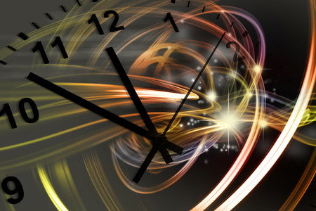 quantum: Hands of clock pointing to twelve, space background Stock Photo