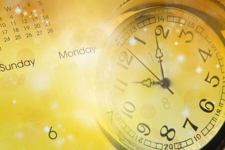 Watch, calendar and abstract background photo