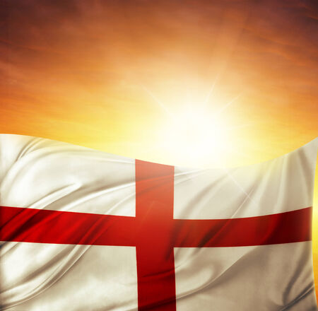 English flag in front of bright sky photo