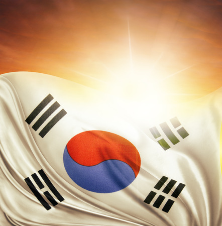 South Korean flag in front of bright sky
