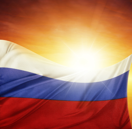 russian federation: Russian flag in front of bright sky