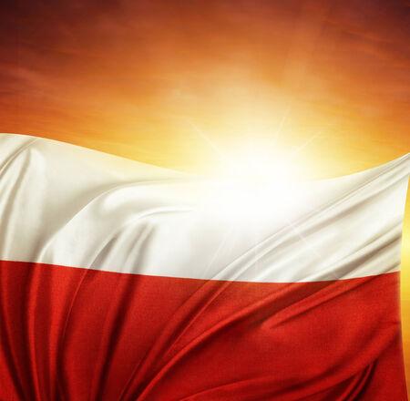 polish flag: Polish flag in front of bright sky