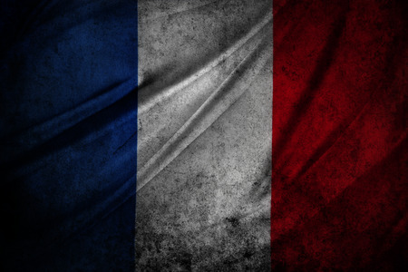 french flag: French flag detail. Grunge effect