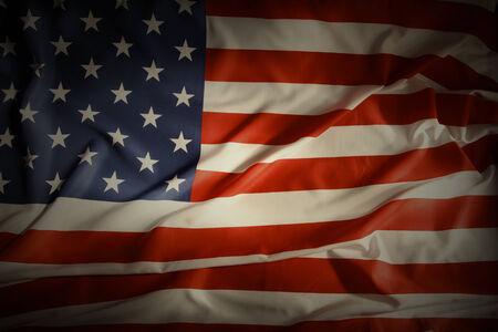 national flag: Closeup of ruffled American flag