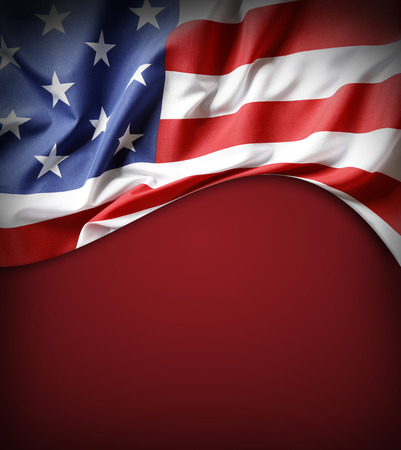 the united states flag: American flag on red background