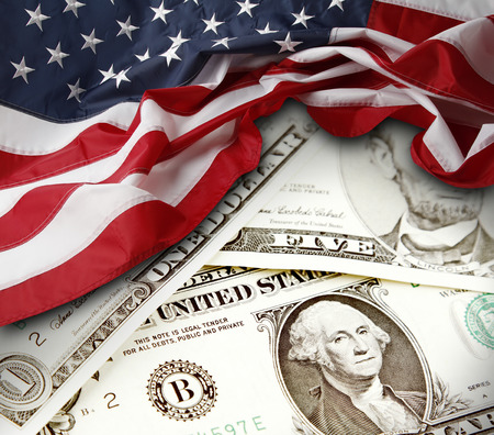 dollaro: Bandiera e banconote americana Archivio Fotografico