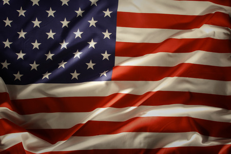 Closeup of ruffled American flag photo
