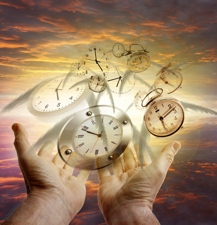 hour hand: Hands and clocks in sky
