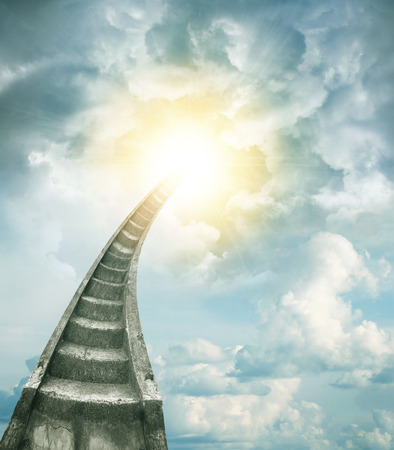 bright future: Stairway leading up to bright light Stock Photo