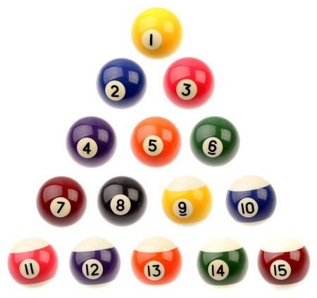 Set of fifteen pool balls isolated over white background photo