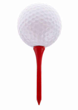 golf tee: Golf ball on tee. Plain background