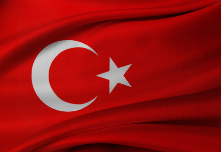 turkish flag: Closeup of silky Turkish flag