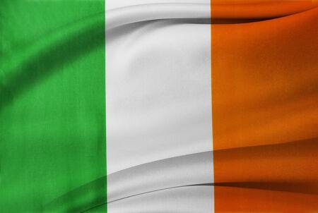 Closeup of silky Irish flag photo
