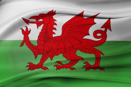 絹のようなウェールズの旗のクローズ アップ