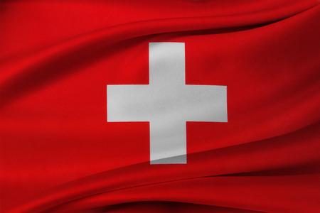 Closeup of silky Swiss flag Stock Photo - 34254197