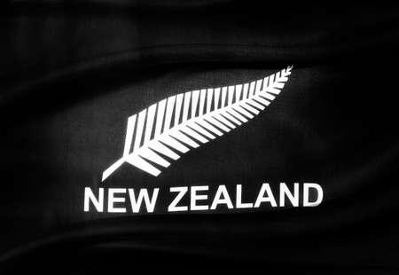 silver fern: Closeup of silky New Zealand silver fern flag