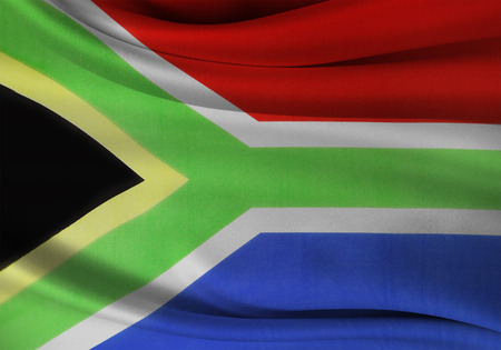 south african flag: Closeup of silky South African flag Stock Photo