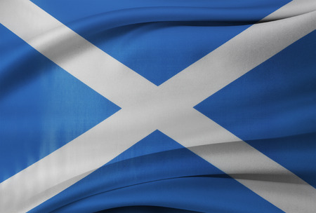 scottish flag: Closeup of silky Scottish flag