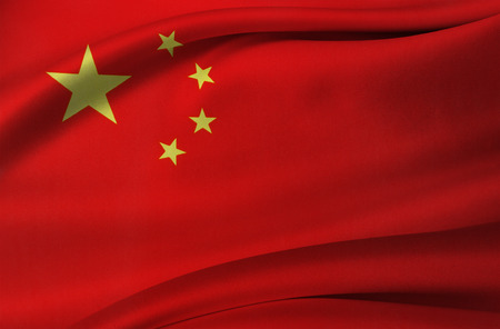 Closeup of silky Chinese flag Stock Photo