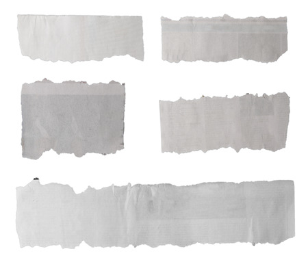 newspaper blank: Pieces of torn paper on plain background