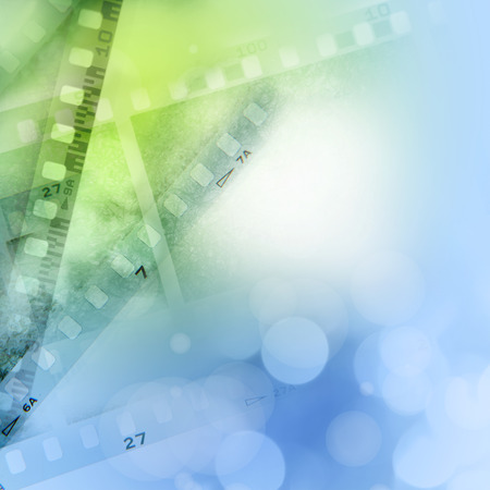 negatives: Filmstrips blue and green background